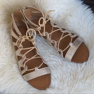 Zara - Metallic Gold Gladiator Sandals. Size 7.